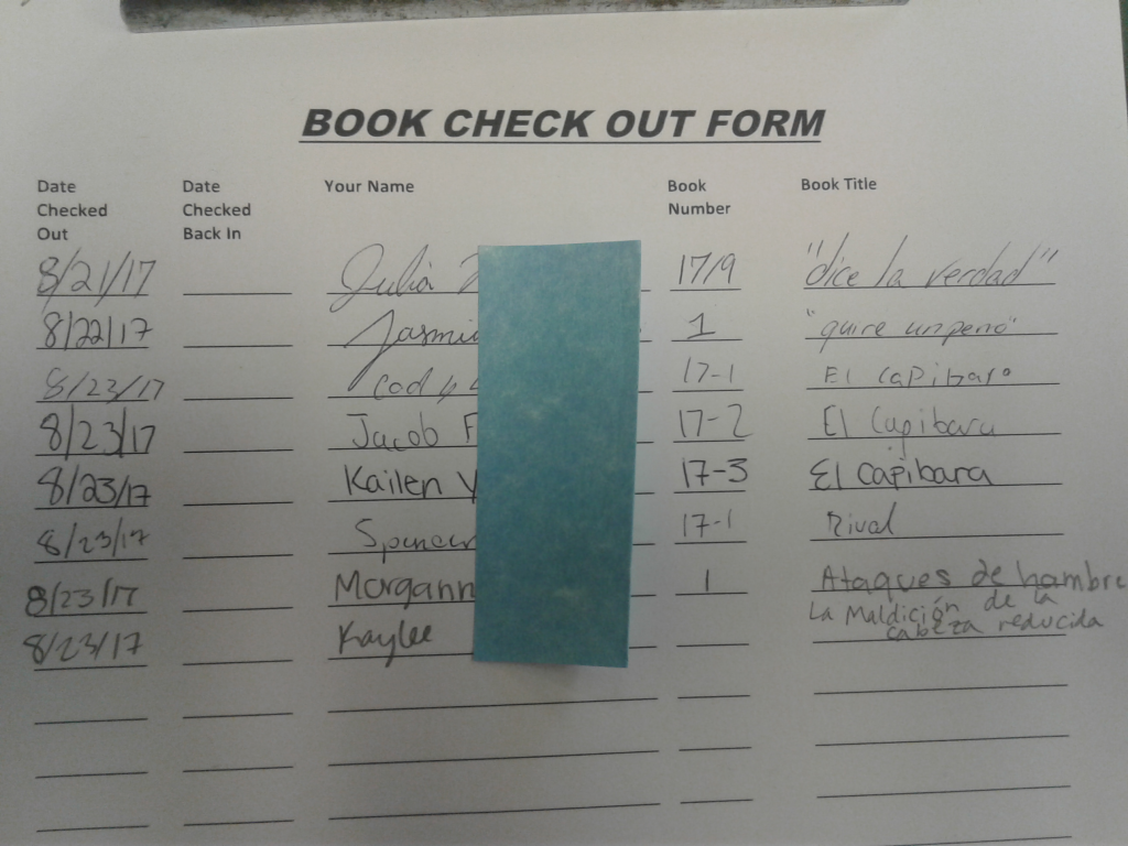 book checkout form