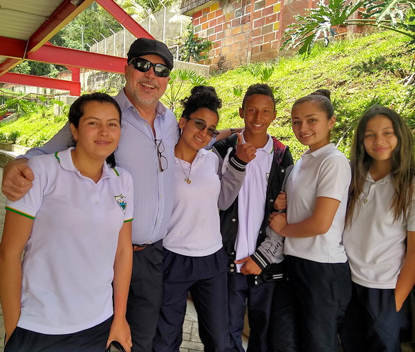 Bryce with Colombian Students
